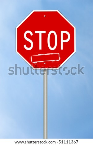 A stop sign with an empty white box with room for your own text.