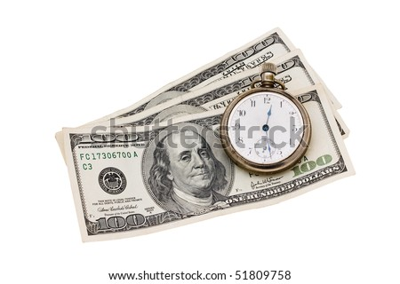 A stopwatch sitting on one hundred dollar bills on a white background, time is money - stock photo