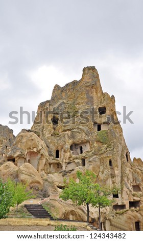 A 4- Storeyed structure comprising Churches, Monasteries, Nunnery and Living quarters is a complex and labrynth the Hillside, Goreme Turkey
