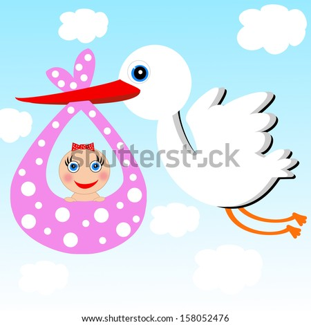 a stork carries a baby on a background blue sky,illustration a raster - stock photo