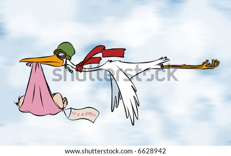 A stork delivering a special delivery to an unknown destination. But we do know it's a girl. - stock photo