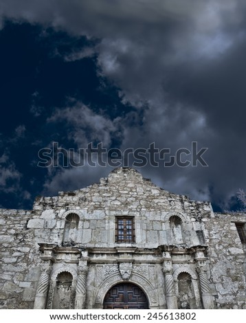 A stormy night at the Alamo with room for your type. - stock photo