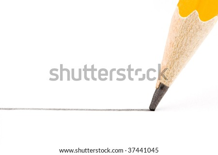 a straight line drawn with the pen is yellow on a white background - stock photo