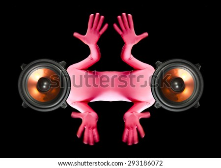 a strange man with four arms and speakers as a head - stock photo