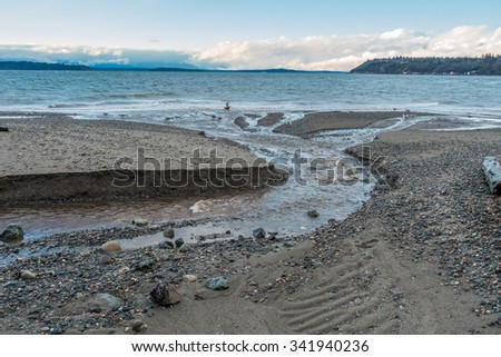 A stream flows across the shoreline at Seahurst Park on its way to the Puget Sound. Photo take in Burien, Washington. - stock photo