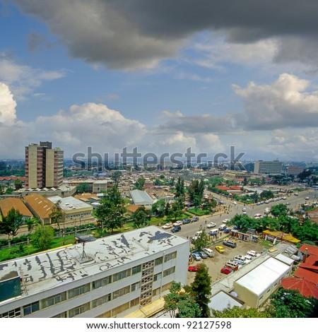 A street in Addis Ababa, capital of Ethiopia - stock photo