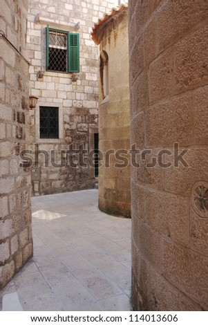 A street in old quarter of Korcula - stock photo