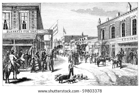 "A Street in Wichita, Kansas. Illustration originally published in Hesse-Wartegg's ""Nord Amerika"", swedish edition published in 1880. - stock photo"