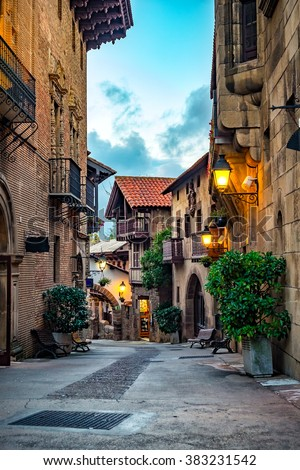 A street of medieval town in Europe. - stock photo
