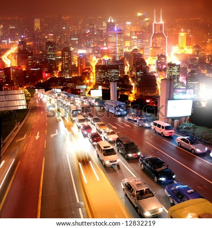 a street of shanghai on the night - stock photo
