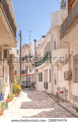 A street scene from the Greek town of Lerapetra on the island of Crete. - stock photo
