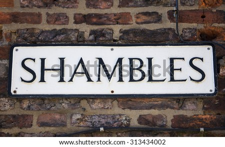 A street sign for The Shambles in York, England. - stock photo