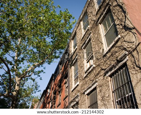 A street view in the Greenwich Village area of New York City. - stock photo