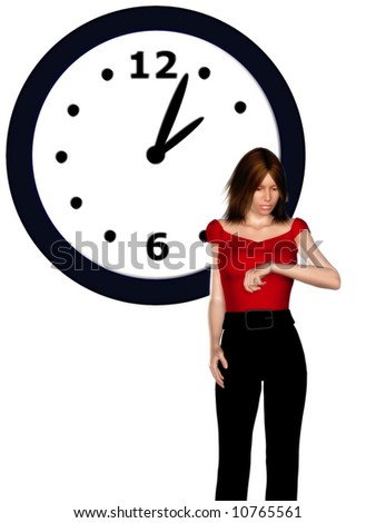 A stressed woman looking at her watch. A big clock in the background.