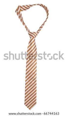 A stripe brown tie on white - stock photo