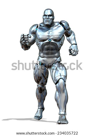 A strong and powerful robot is ready for action - 3D render. - stock photo