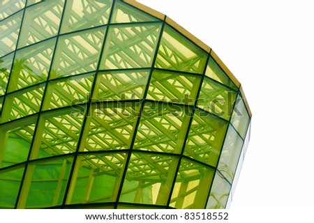 A structure built by yellow glass panel - stock photo