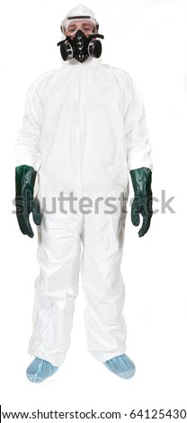 A studio front profile of a bio-hazard materials man on a white background. - stock photo