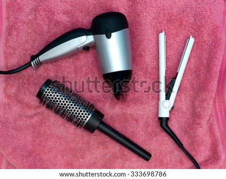 A studio photo of hair styling accessories - stock photo