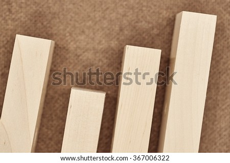 A studio photo of pine wood planks up close - stock photo