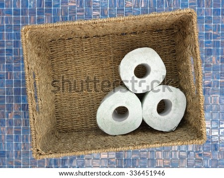 A studio photo of stored toilet paper - stock photo