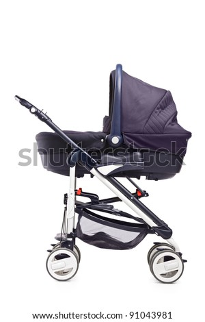 A studio shot of a baby stroller isolated against white background - stock photo