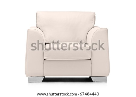 A studio shot of a leather white armchair isolated on white background - stock photo