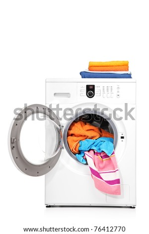 A studio shot of a washing machine isolated on white background