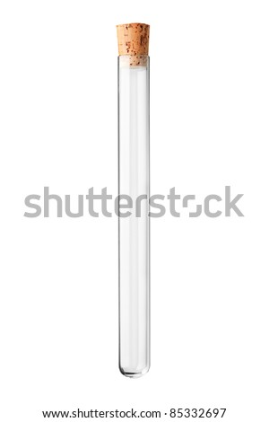 A studio shot of an empty test tube with a cork isolated on white background - stock photo