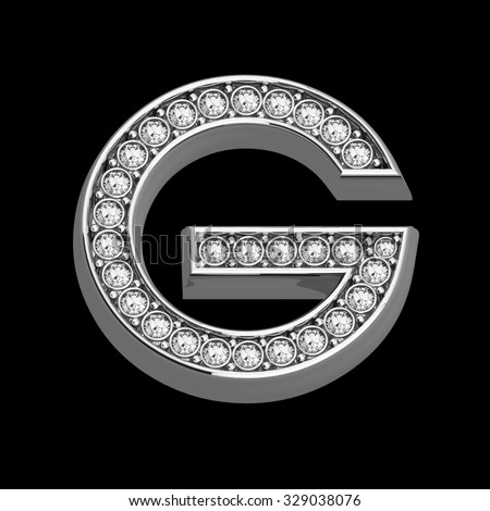 """A stunningly beautiful """"G"""" set in diamonds and silver.  - stock photo"""