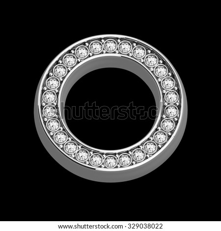 """A stunningly beautiful """"O"""" set in diamonds and silver.  - stock photo"""