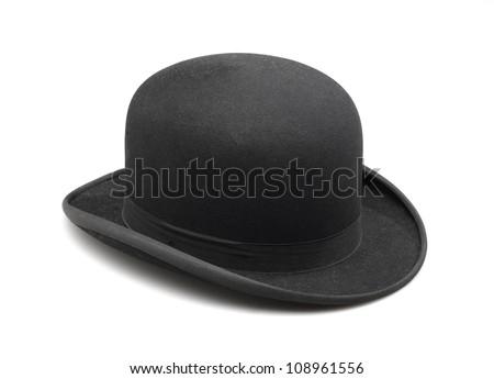 A stylish black bowler hat - stock photo