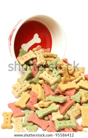 A stylish dog bowl spilling out the mans best friends treat. - stock photo