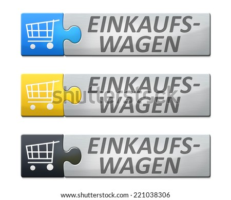 A stylish web banner with text shopping cart in german language