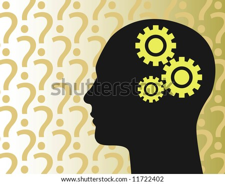 A stylized illustration of a man lost in thought - stock photo