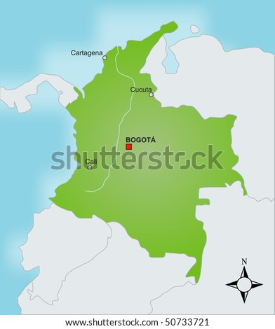 A stylized map of Colombia showing different cities and nearby countries.