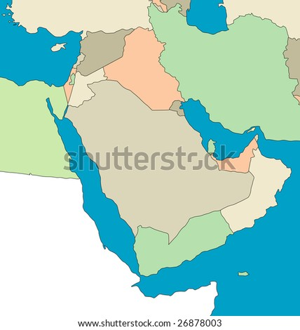 A stylized map of the  Middle East showing the different countries. All isolated on white background. - stock photo