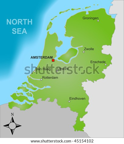 A stylized map of the Netherlands showing different big cities as well as nearby countries. - stock photo