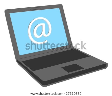 A stylized notebook computer. All on white background.
