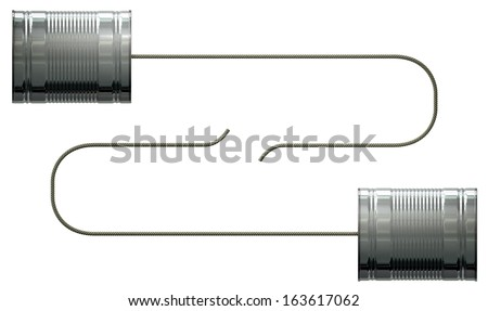 A stylized pair of homemade telephones made from tin cans and connected with a string on an isolated white background - stock photo