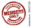A stylized red stamp symbolizing a restricted member area. All on white background. - stock photo