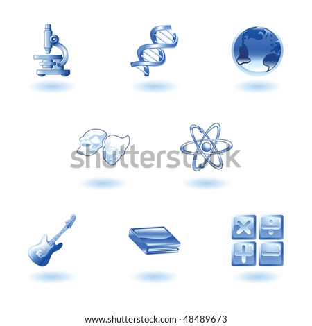 a subject or category icon set eg. science, maths, literature, geography, music, physics etc - stock photo