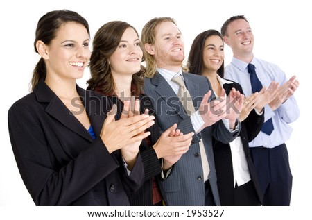 A successful business team applauding on white background