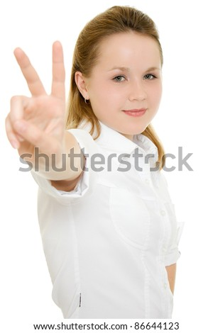 A successful businesswoman on a white background. - stock photo