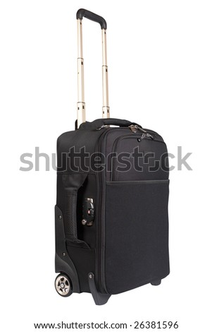 A suitcase trolley isolated on white background. Path included