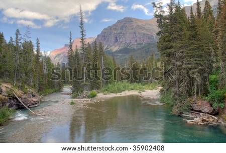 A summer day in Glacier National Park, Montana - stock photo