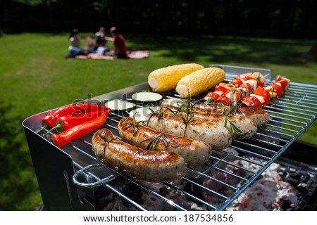 A summer garden party with grilled food - stock photo
