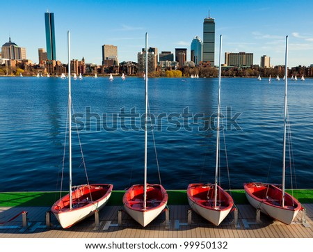 A sunny and warm spring day in Boston, Massachusetts, USA by the Charles River bed. - stock photo