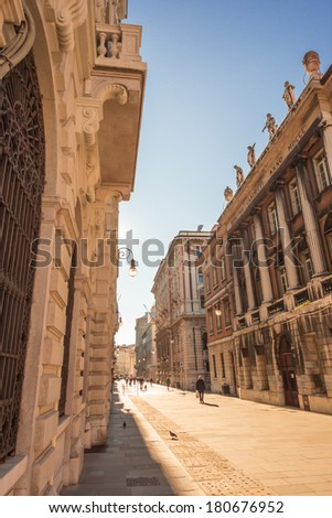 a sunny beautiful morning in the center of Trieste, one of the must spectacular cities of Italy - stock photo