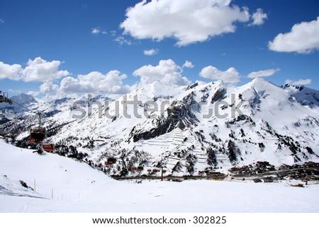 A Sunny ski day in Austria - stock photo